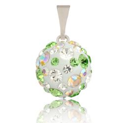 St��brn� p��v�sek s krystaly Swarovski Green Sun Cosmos