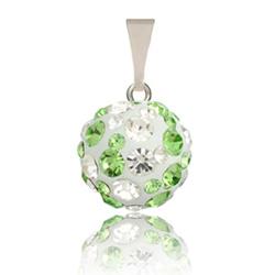 St��brn� p��v�sek s krystaly Swarovski Green White Cosmos