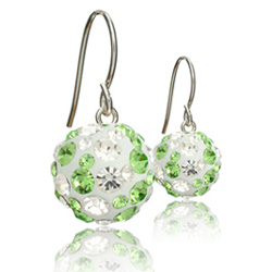 St��brn� n�u�nice s krystaly Swarovski Leaf Green Cosmos