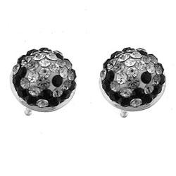 Stříbrné náušnice s krystaly Swarovski Oliver Weber Half Ball 62008-BLA
