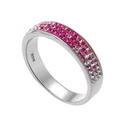 Støíbrný prsten s krystaly Swarovski Oliver Weber Basic 7711-ROS