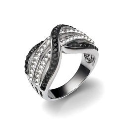 Stříbrný prsten s krystaly Swarovski Oliver Weber Split 7723-BLA