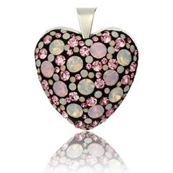 St��brn� p��v�sek s krystaly Swarovski Black Polar Pink Heart
