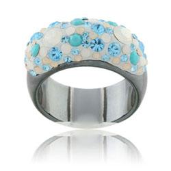 Prsten s krystaly Swarovski Hematit Blue Polar Shine Large