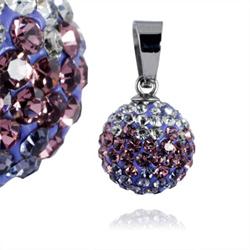 Ocelový přívěsek s krystaly Ball Violet White