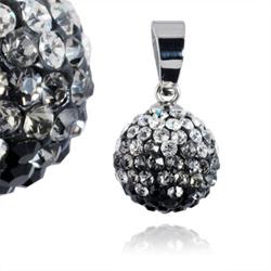 Ocelový přívěsek s krystaly Ball White Black
