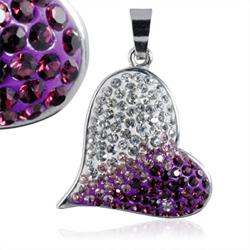 Ocelový přívěsek s krystaly Heart Purple