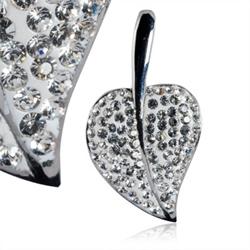 Ocelový přívěsek s krystaly Leaf Silver