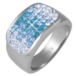 Prsten s krystaly Swarovski RSSW11-AQUA