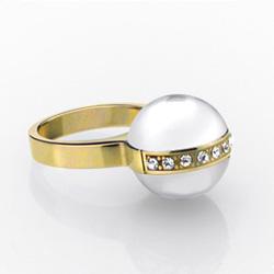 Ocelový prsten Storm Shelly Gold