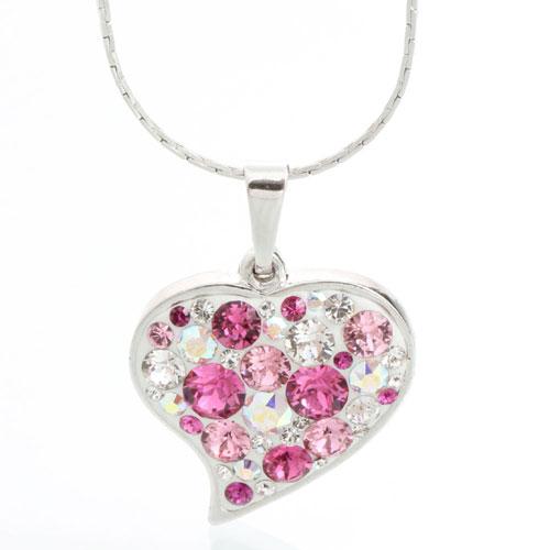 Náhrdelník s krystaly Swarovski Heart Rose