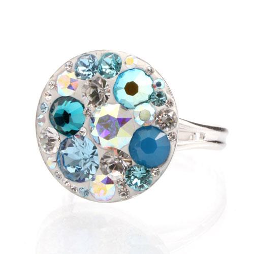Prsten s krystaly Swarovski Rivoli Aqua