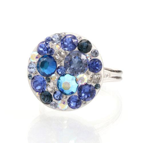 Prsten s krystaly Swarovski Rivoli Saphire