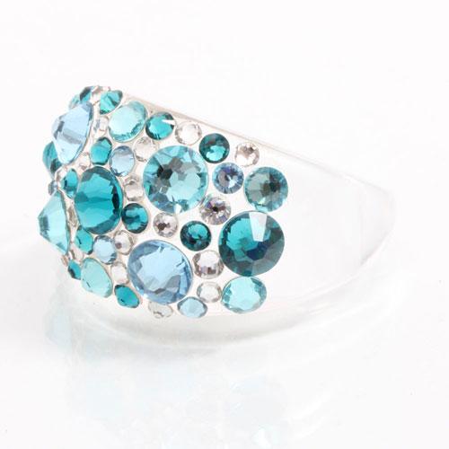 Prsten s krystaly Swarovski Plastic Aqua