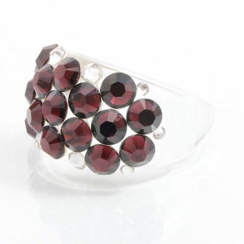Prsten s krystaly Swarovski Plastic Burgundy