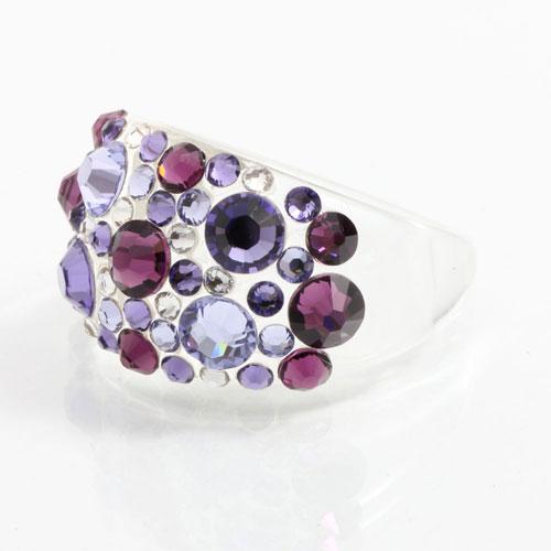 Prsten s krystaly Swarovski Plastic Violet