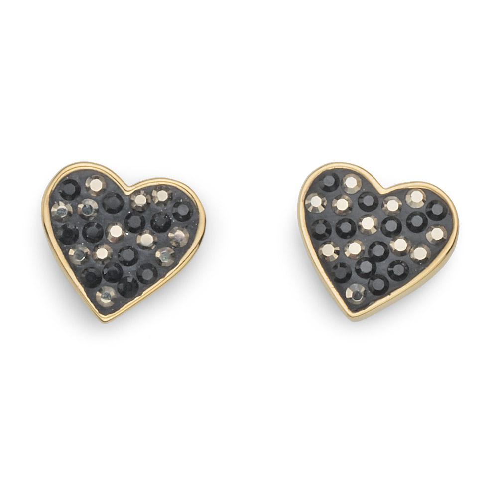 Náušnice s krystaly Swarovski Oliver Weber Lucky Heart Gold