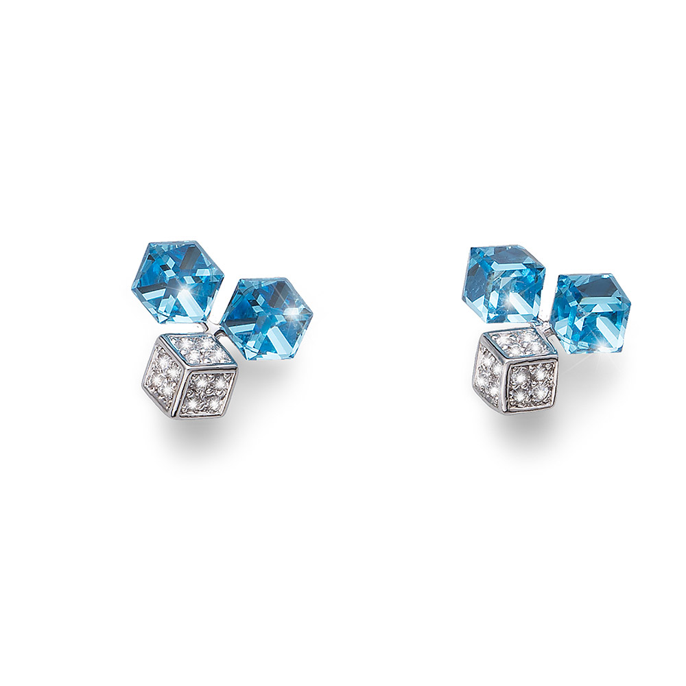 Náušnice s krystaly Swarovski Oliver Weber Quad 22629-BLU