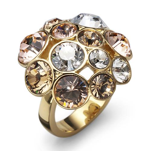 Prsten s krystaly Swarovski Oliver Weber Noche Gold