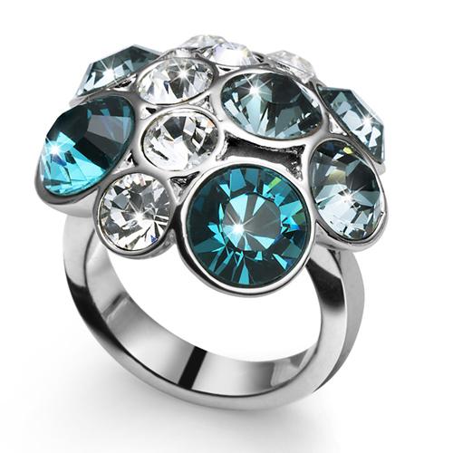Prsten s krystaly Swarovski Oliver Weber Noche Blue