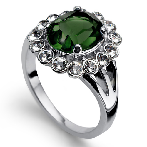 Prsten s krystaly Swarovski Oliver Weber Genuine Emerald
