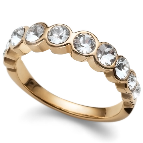 Prsten s krystaly Swarovski Oliver Weber Horizon Gold