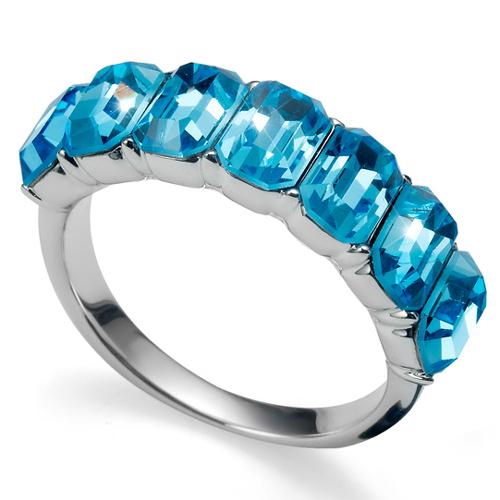 Prsten s krystaly Swarovski Oliver Weber Club Aqua