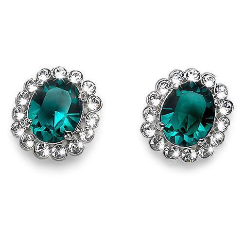 Náušnice s krystaly Swarovski Oliver Weber Genuine Emerald