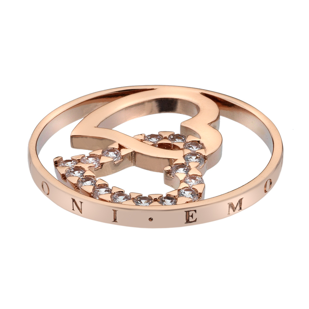 Pøívìsek Hot Diamonds Emozioni Double Heart Rose Gold Coin