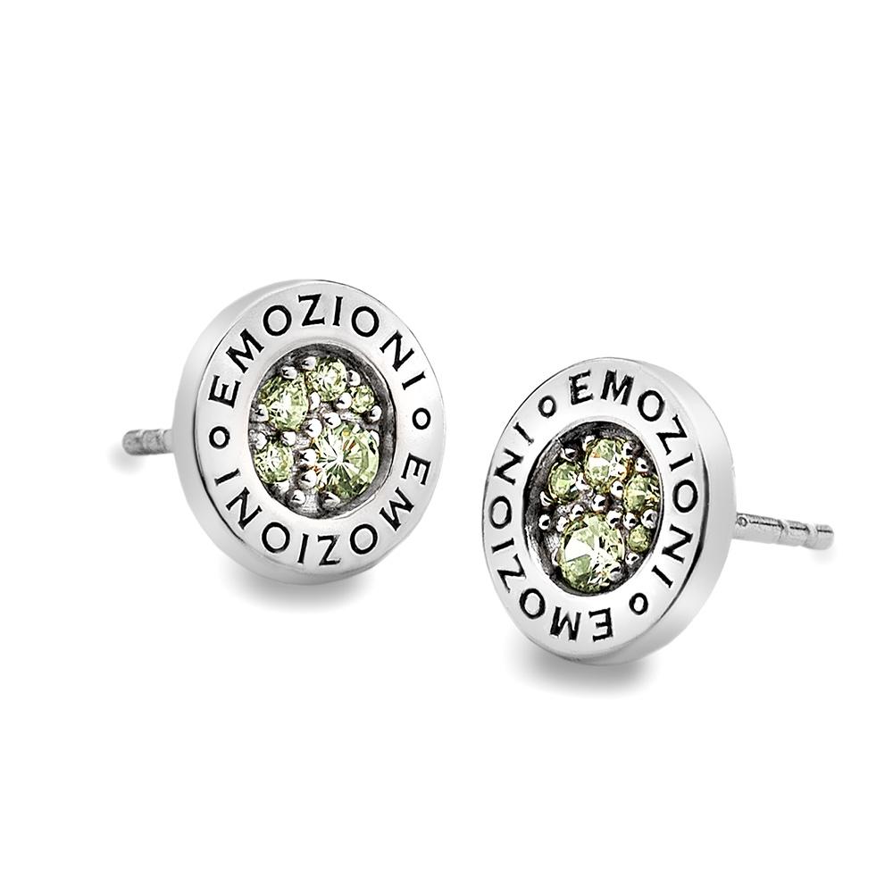 Stříbrné náušnice Hot Diamonds Emozioni Scintilla Peridot Nature