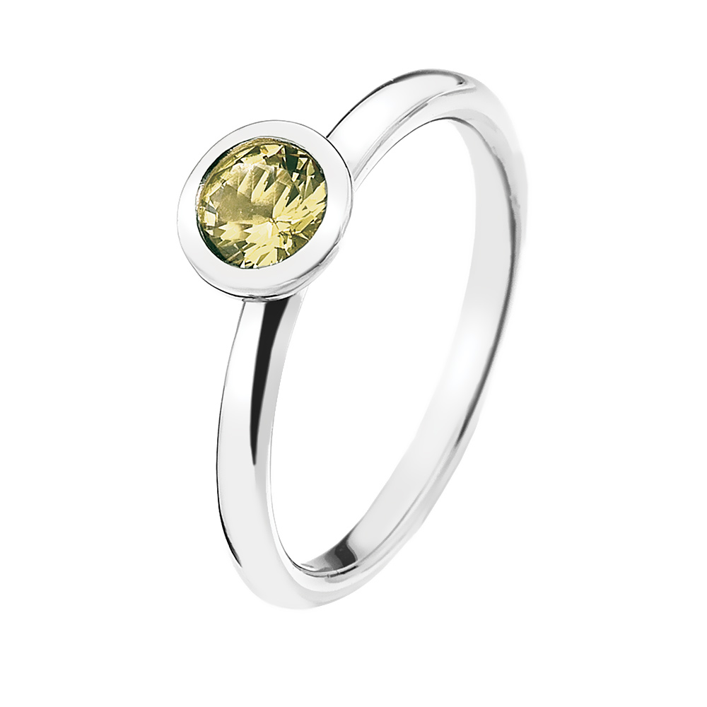Støíbrný prsten Hot Diamonds Emozioni Scintilla Peridot Nature