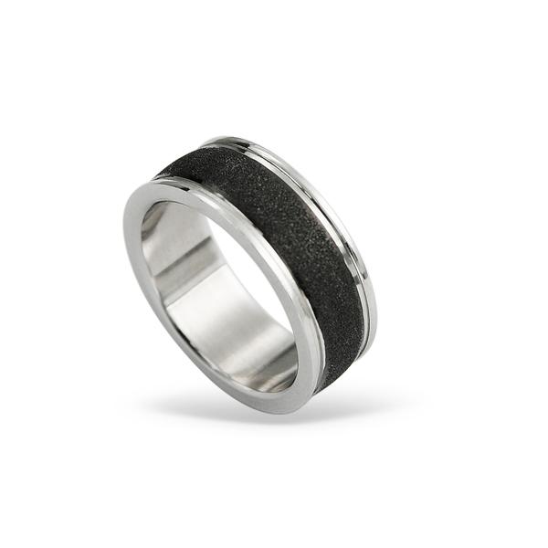 Prsten z chirurgické oceli RSS424-BLACK