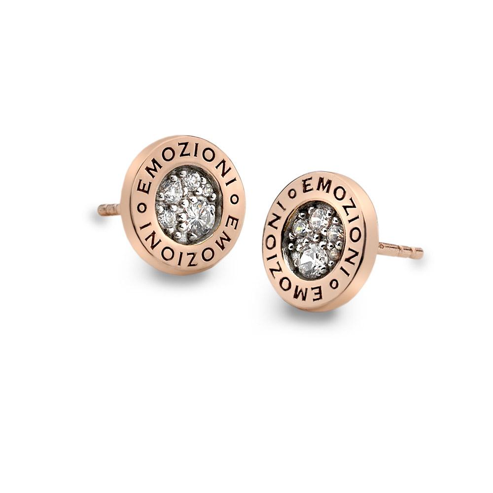 Stříbrné náušnice Hot Diamonds Emozioni Pianeta Rose Gold