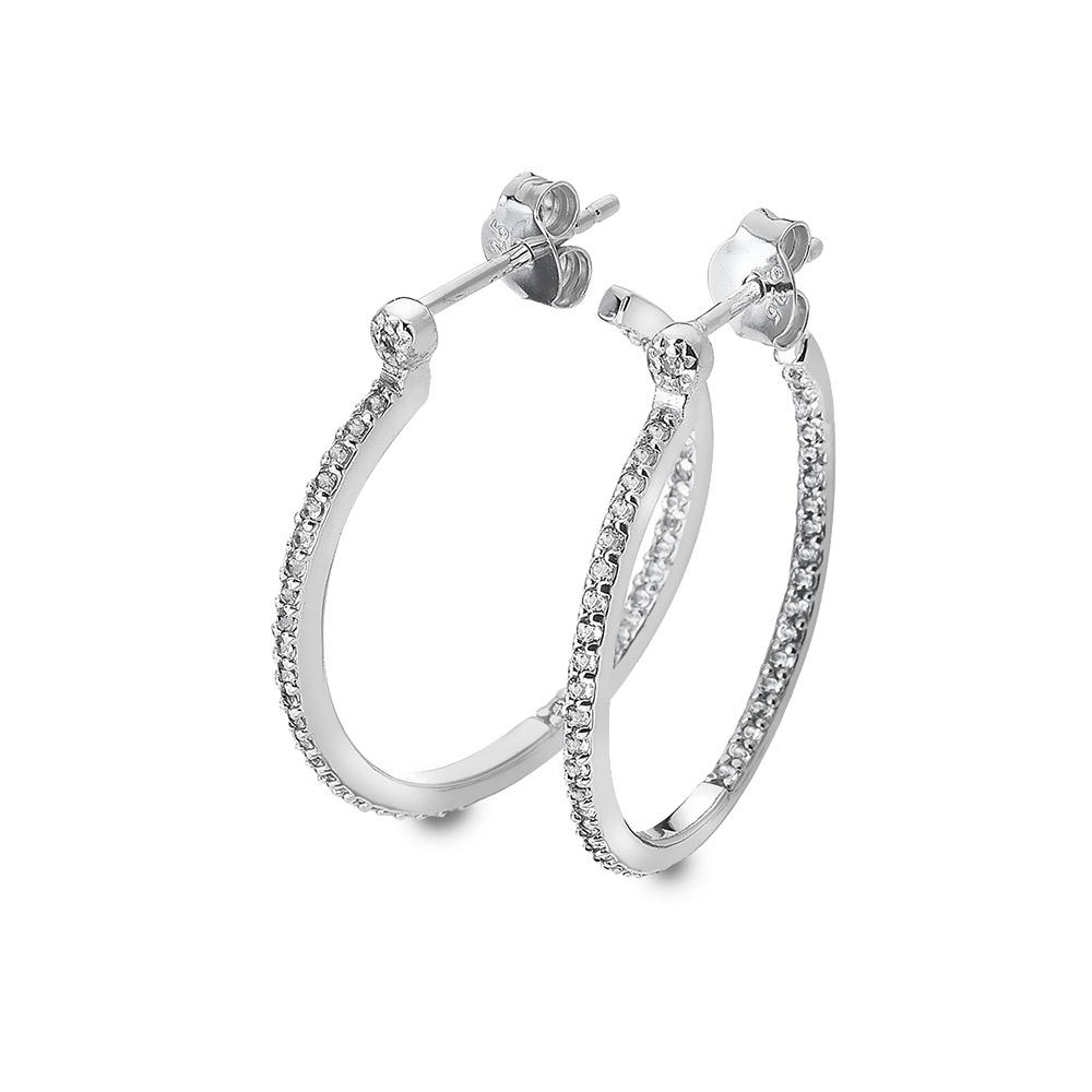 Stříbrné náušnice Hot Diamonds Hoops Topaz DE623