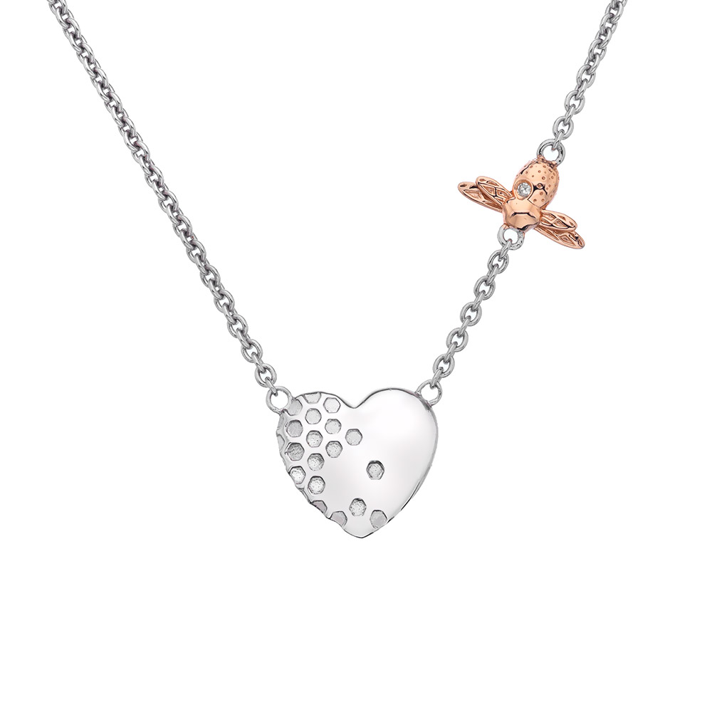 Stříbrný náhrdelník Hot Diamonds Nature Honey Bee Heart RG DN146