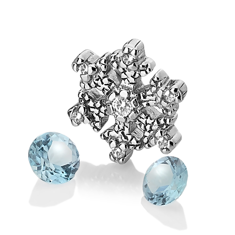 Přívěsek Hot Diamonds Anais element vločka modrý Topaz AC108