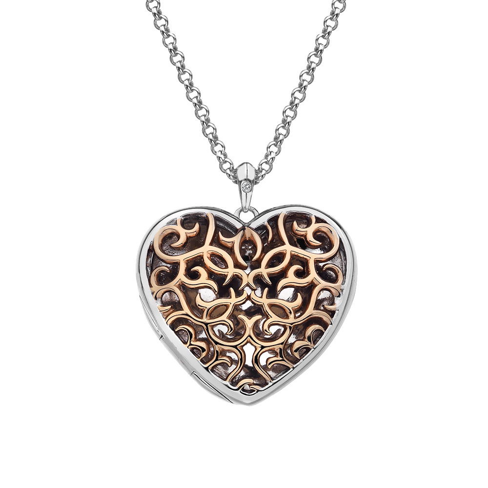 Pøívìsek Hot Diamonds Large Heart Filigree Locket RG DP670