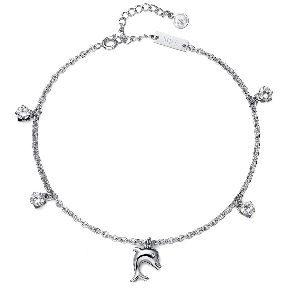 Náramek s krystaly Swarovski Oliver Weber Anklet Dolphin 39100