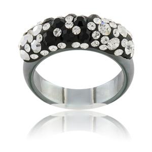 Prsten s krystaly Swarovski Hematit Black White Slim