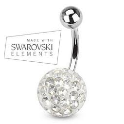 Piercing do pupíku s krystaly Swarovski BS01015-03