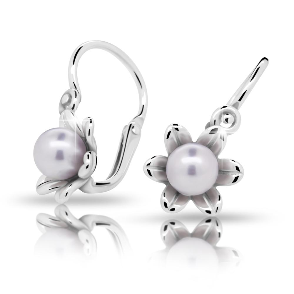 Dětské stříbrné náušnice s perličkou C2239-10