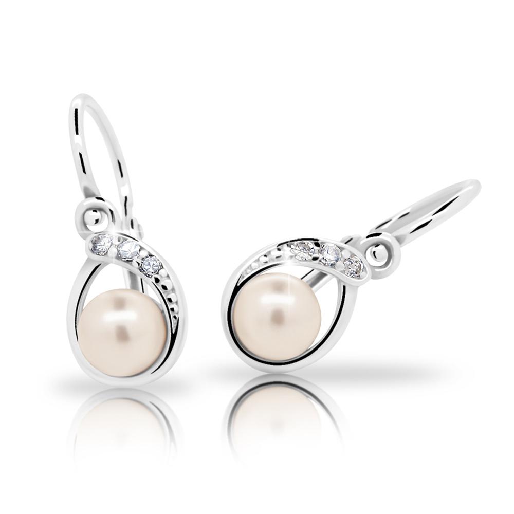 Dětské stříbrné náušnice s perličkou C2480-10