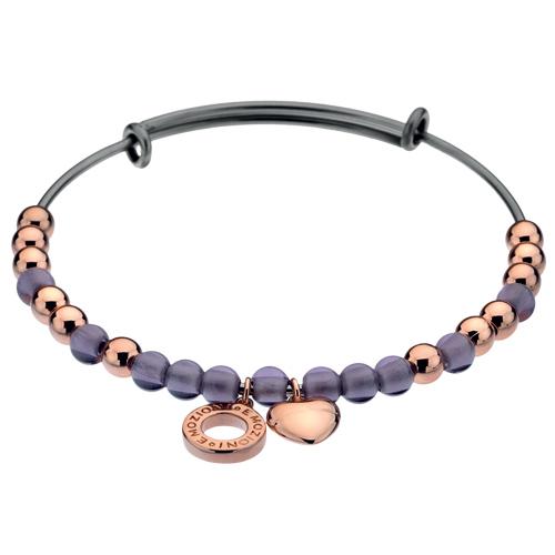 Ocelový náramek Hot Diamonds Emozioni Rose Gold and Purple