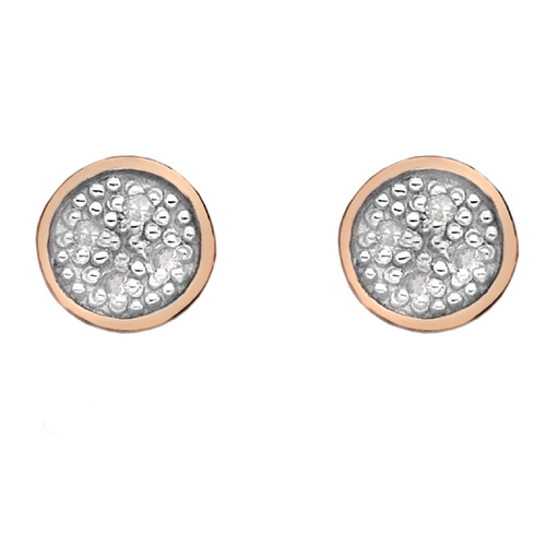 Stříbrné náušnice Hot Diamonds Stargazer Circle Rose Gold