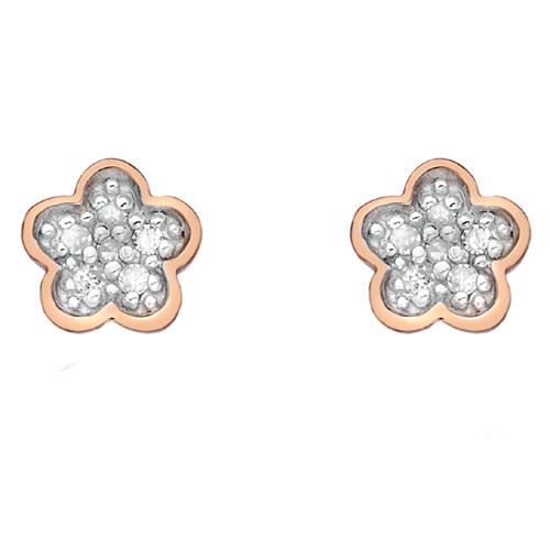 Stříbrné náušnice Hot Diamonds Stargazer CFlower Rose Gold