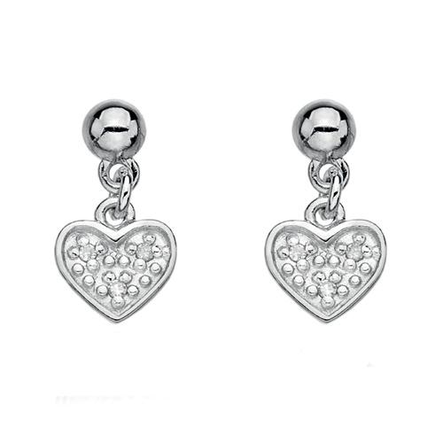 Stříbrné náušnice Hot Diamonds Stargazer Heart