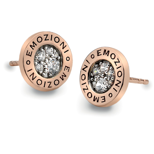 Støíbrné náušnice Hot Diamonds Emozioni Pianeta Rose Gold