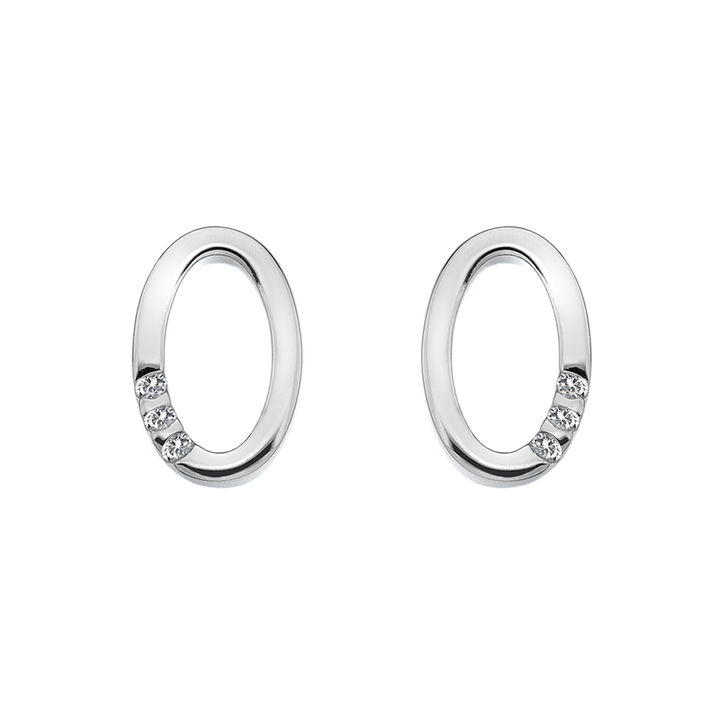 Støíbrné náušnice Hot Diamonds Halo Oval