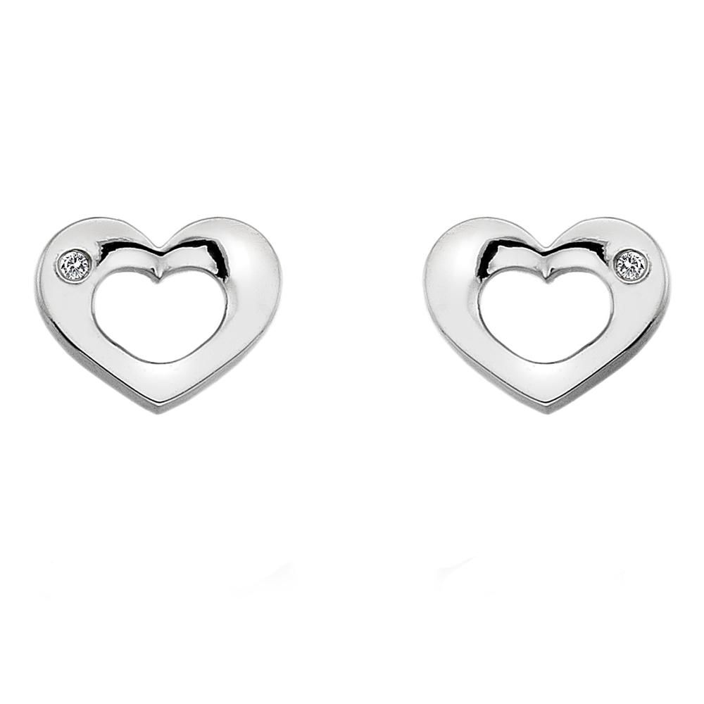 Støíbrné náušnice Hot Diamonds Emerge Heart