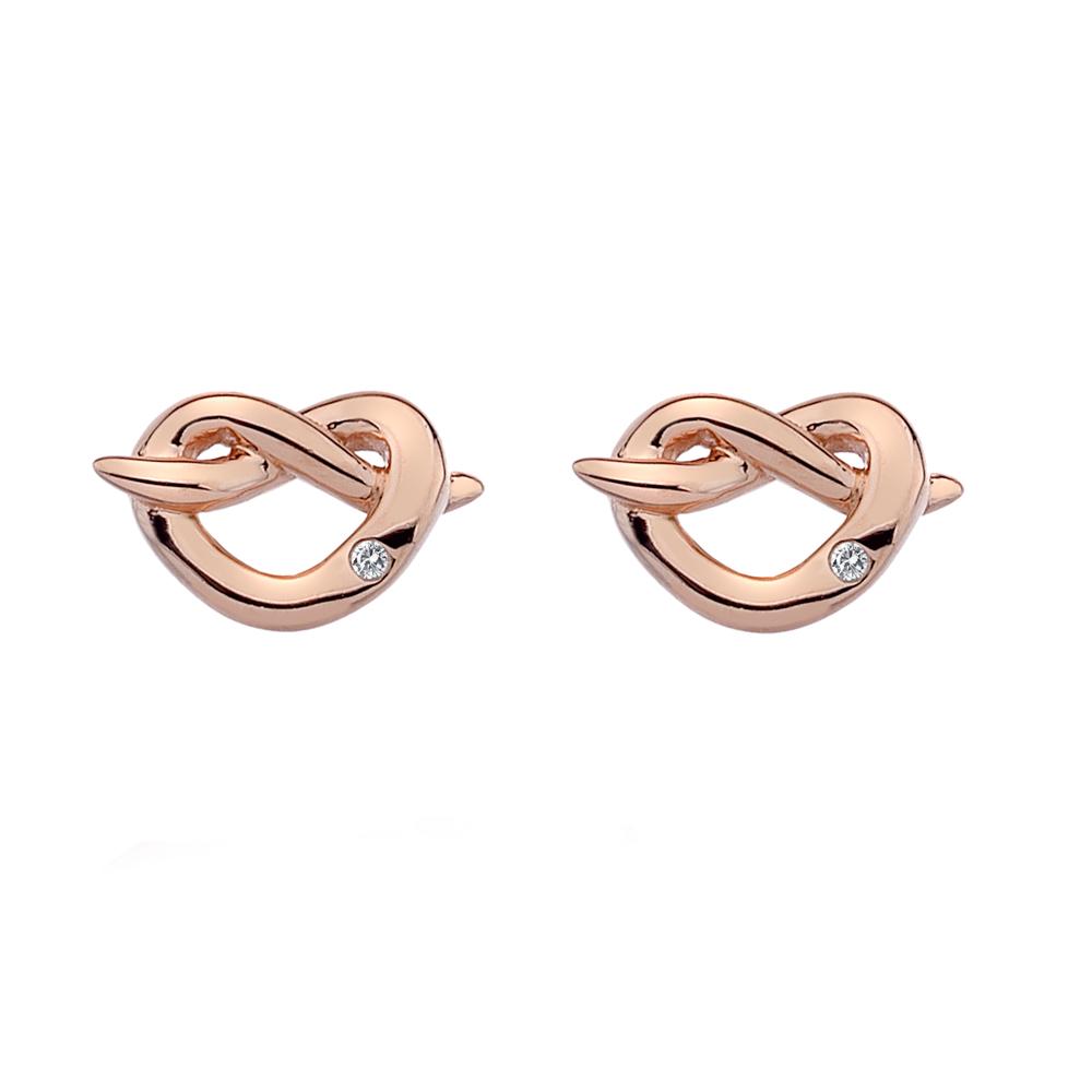 Støíbrné náušnice Hot Diamonds Infinity Heart Rose Gold